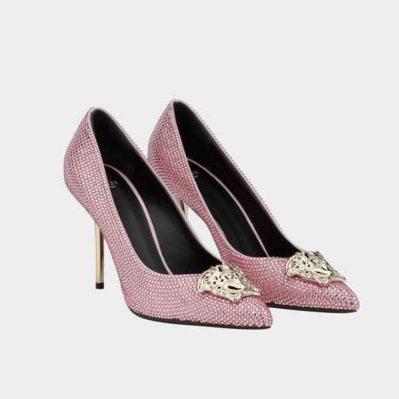95aebcd493cc3 Versace Shoes | New Pink Crystal Palazzo Pumps Heels 37 7 | Poshmark